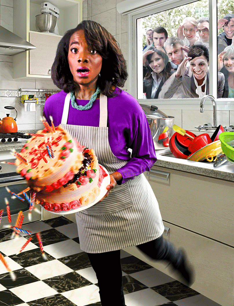 An African American woman holding a cake is falling forward while several white people watch through the kitchen window