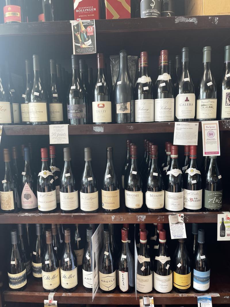Wine shelf at Vincenzo's.