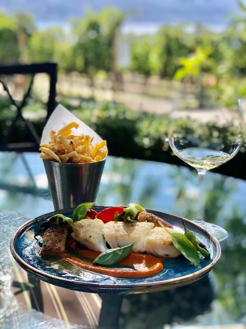 Truffle & Parmesan Fries, Fresh Fish Plate, and a Glass of Chardonnay at Quails' Gate Winery
