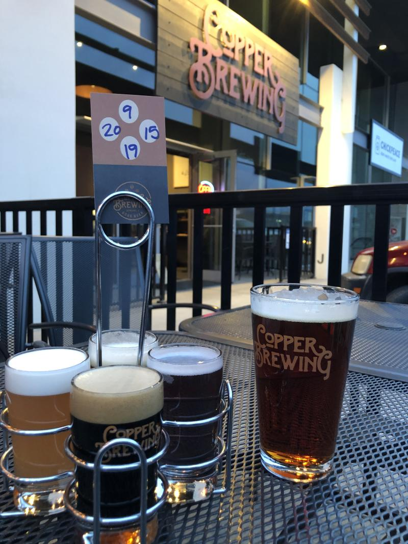 Beer Flight at Copper Brewing on the Patio