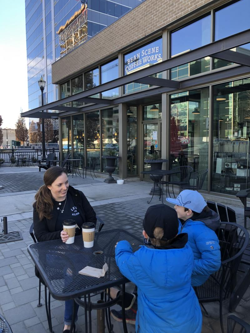 Lindsay and Family at Bean Scene HQ Enjoying Coffee on the Patio