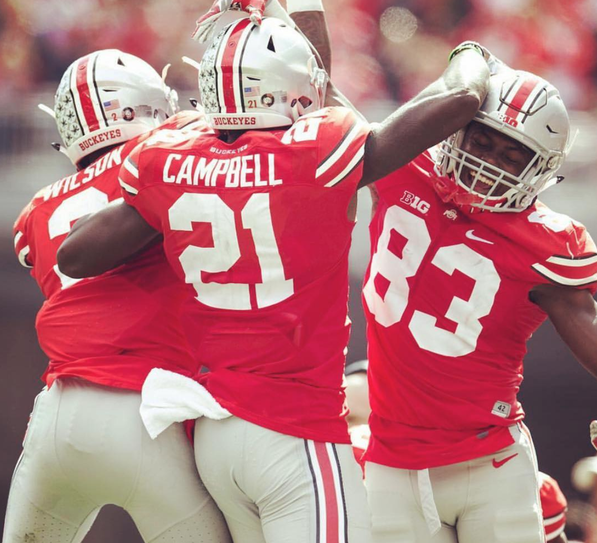 OSU's Parris Campbell Jr. cheers with teammates