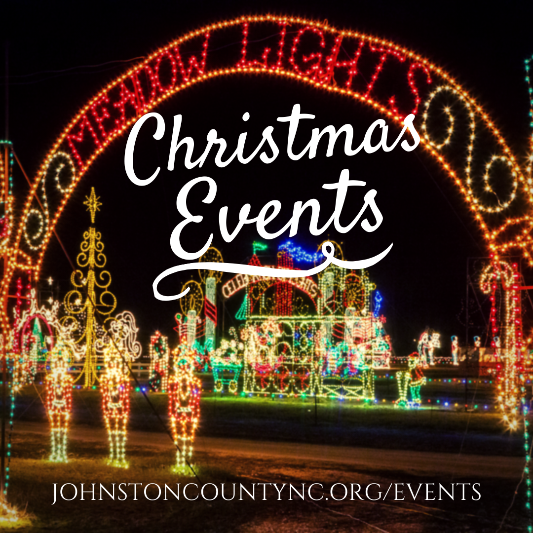 Christmas events banner ad for promoting holiday events in Johnston County, NC.