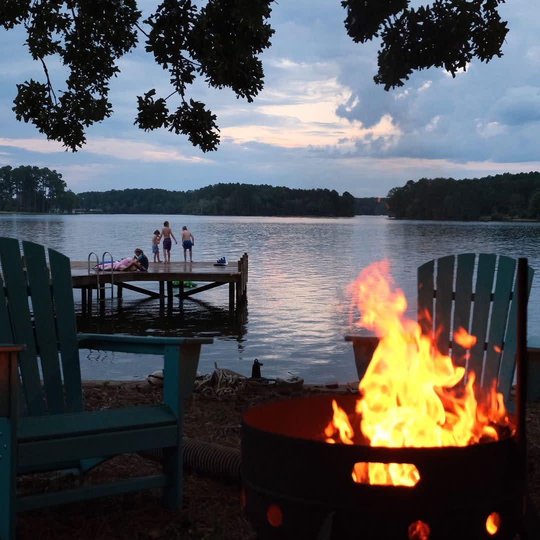Kids and campfire at the lake