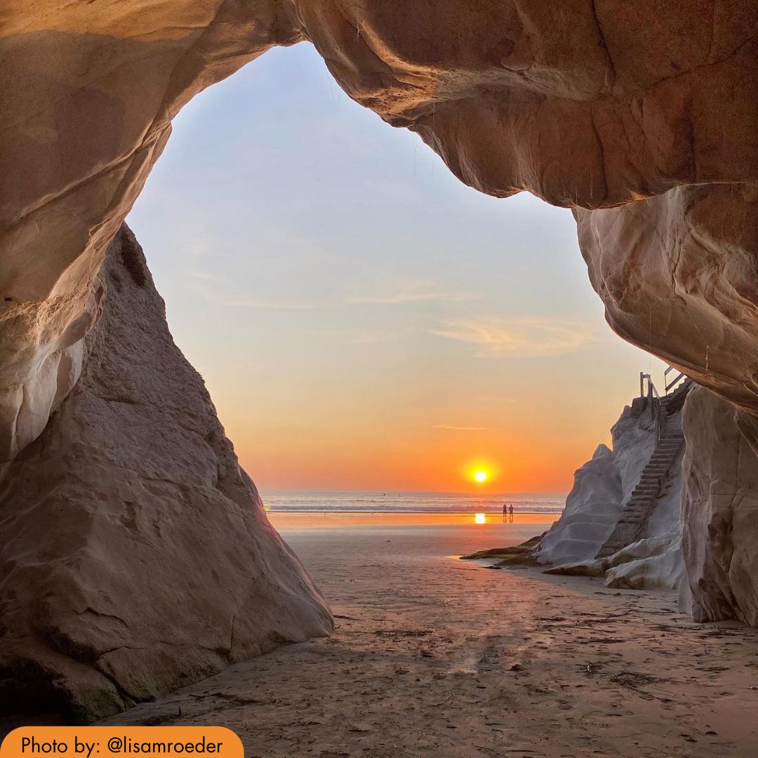 The Sun setting at Shell Beach in San Luis Obispo County