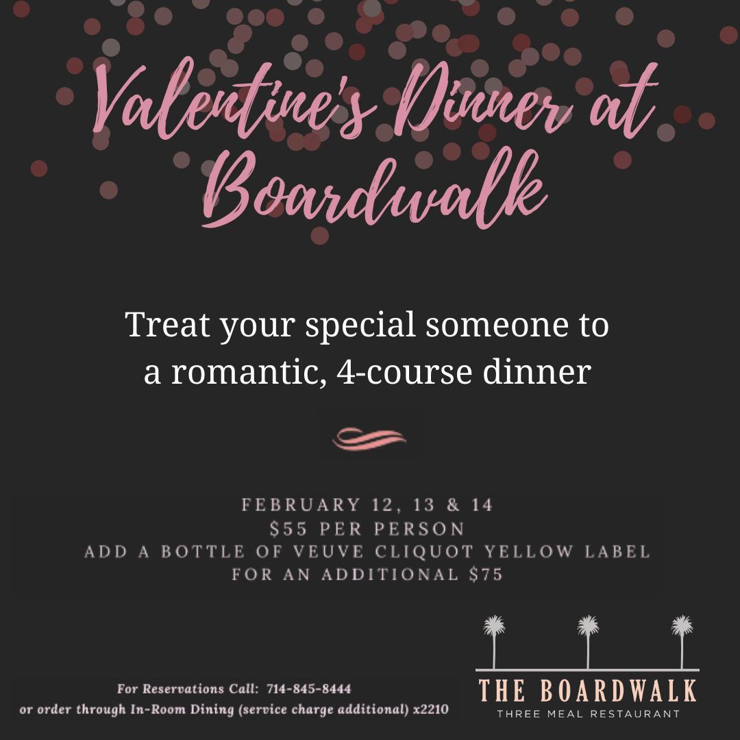 Boardwalk at The Waterfront Beach Resort, a Hilton Hotel Valentine's Day Dinenr