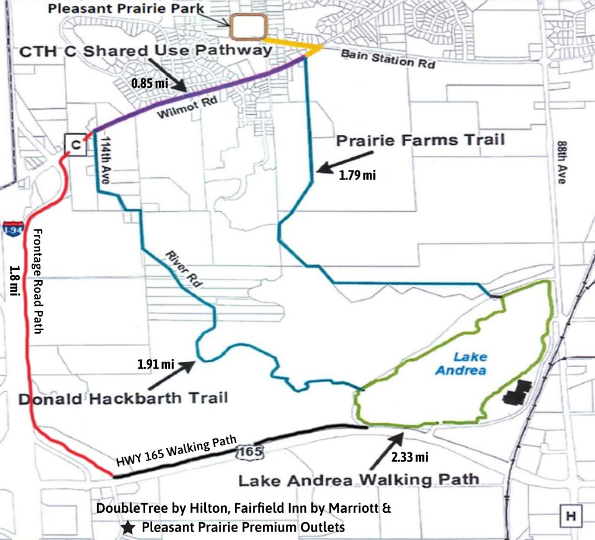 Lake Andrea area trails map w/mileage