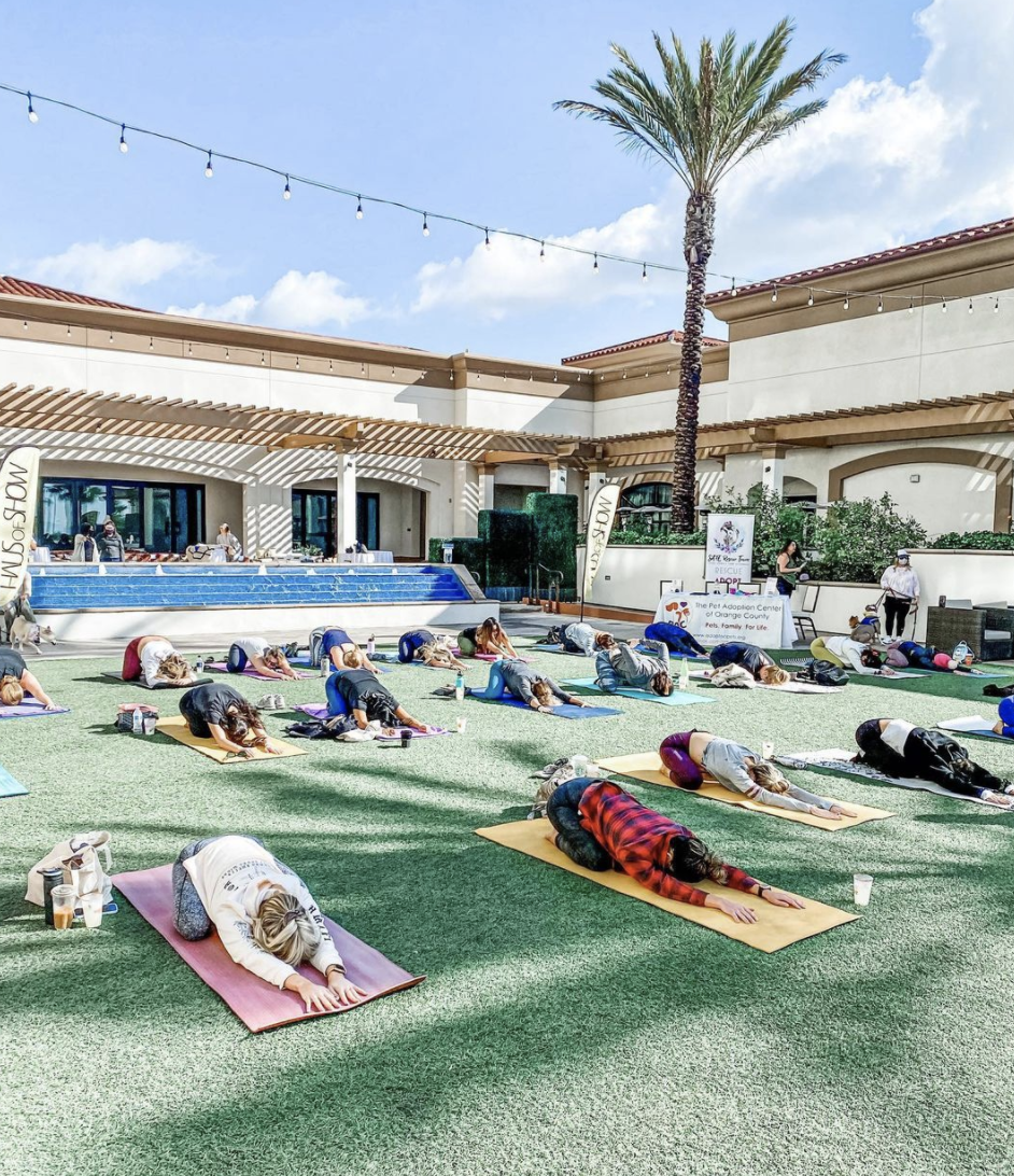 Women doing yoga on the outside lawn of The Waterfront Beach Resort, a Hilton Hotel