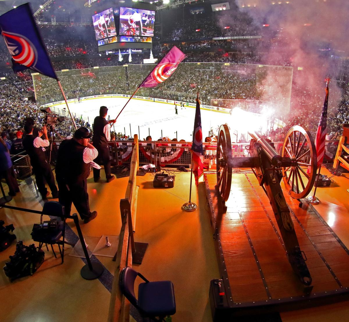 Cannon fire during Columbus Blue Jackets game