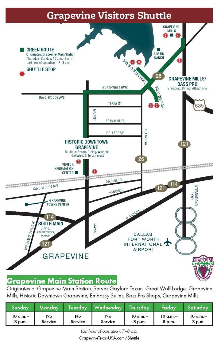 Grapevine Visitors Shuttle Map