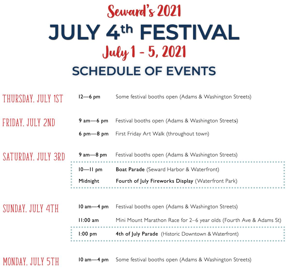 July 4th Schedule