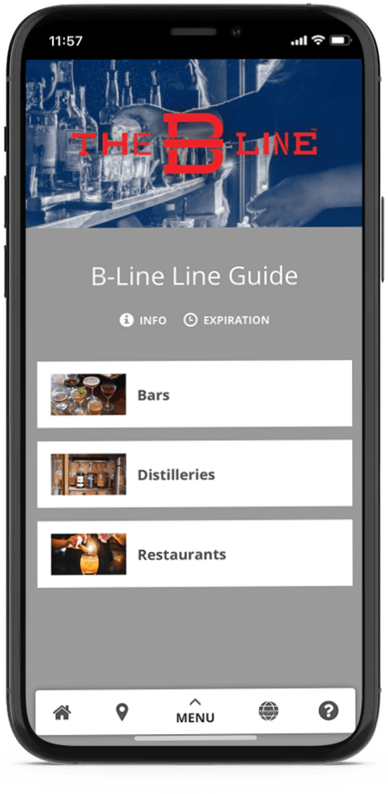 A cell phone screen of the digital version of The B-Line bourbon trail's passport