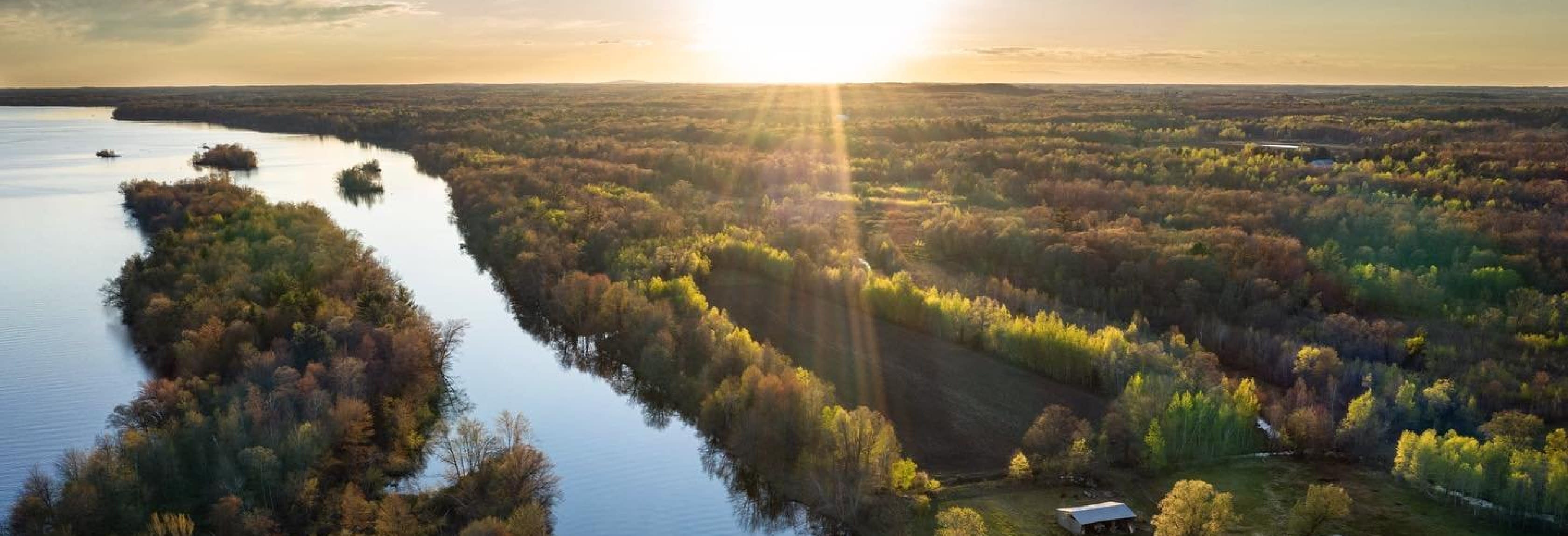 River, water, sunset, aerial, trees