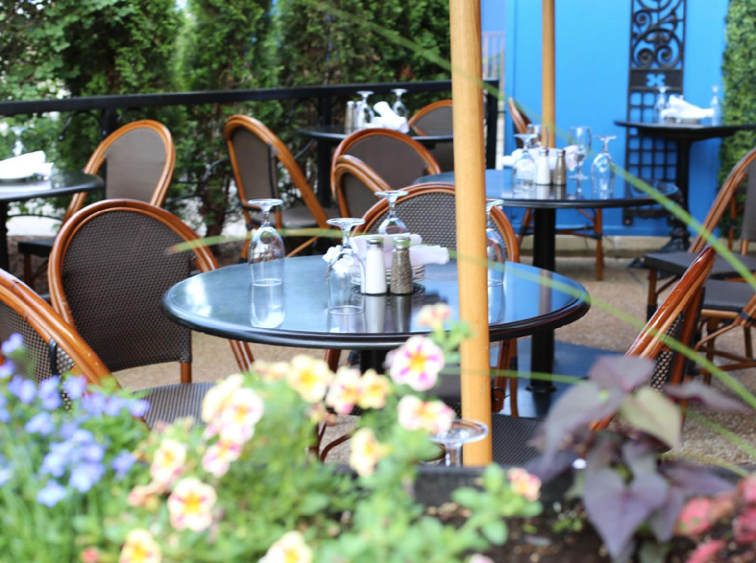 Outdoor patio at a restaurant