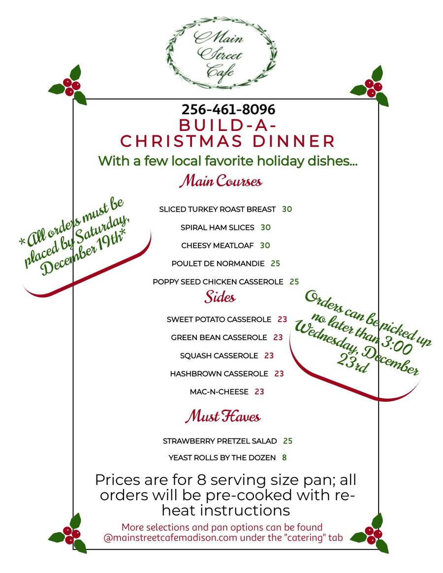 Main Street Cafe Holiday Menu