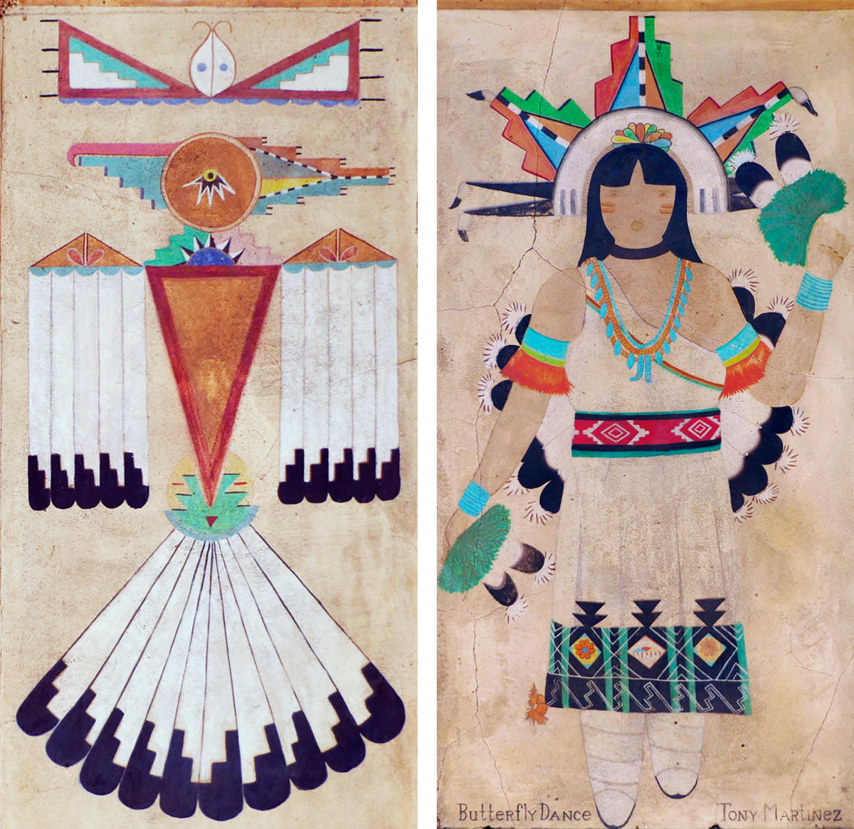 Historic Murals: Tony Martinez (Popovi Da) painted Straight Beak Bird and San Ildefonso Butterfly Maiden for his murals, New Mexico Magazine
