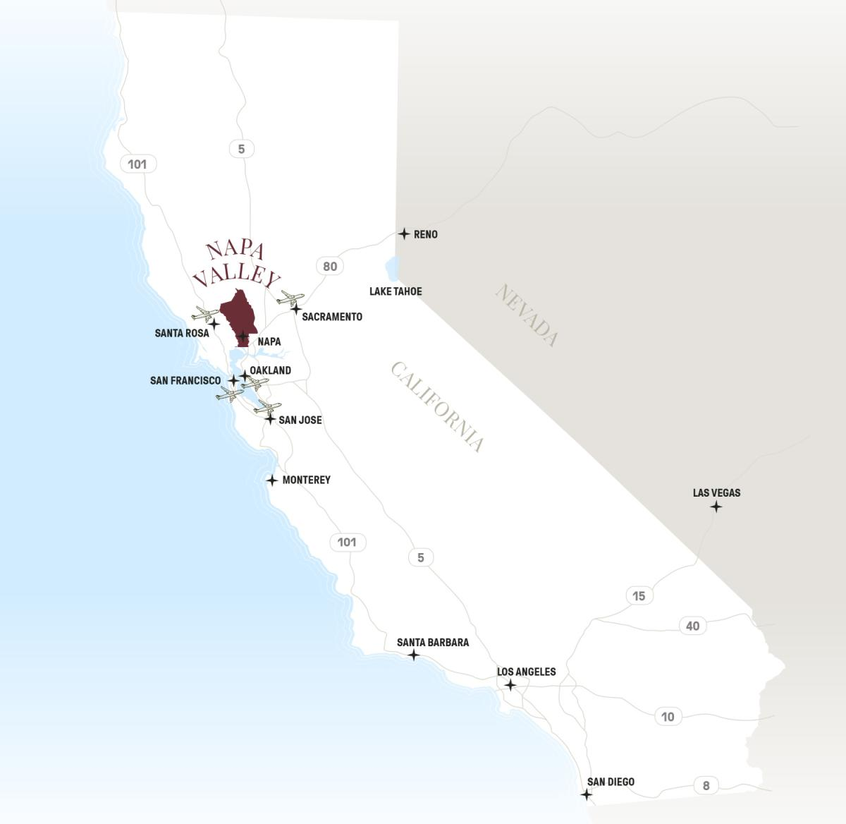Napa Valley, California map