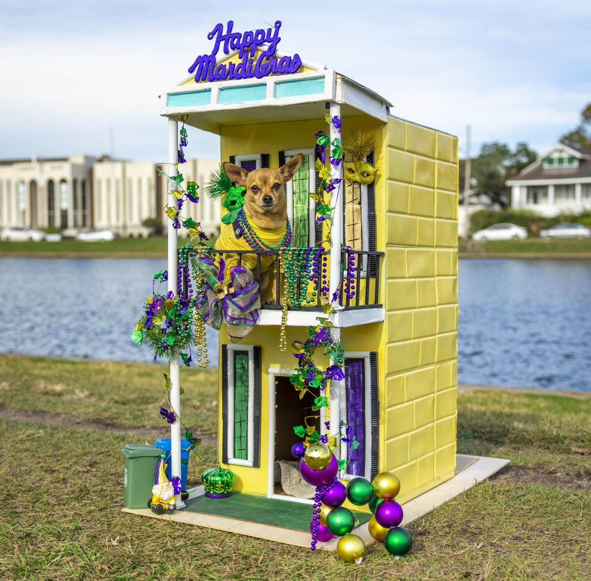 Mardi Paws Doghouse float by canal