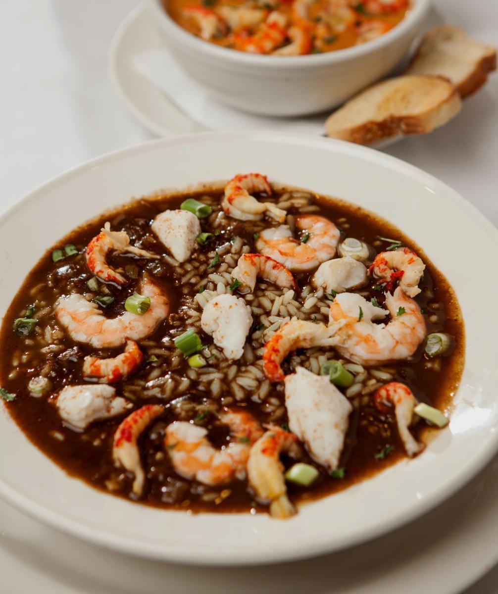 Bowl of shrimp gumbo from Schooner
