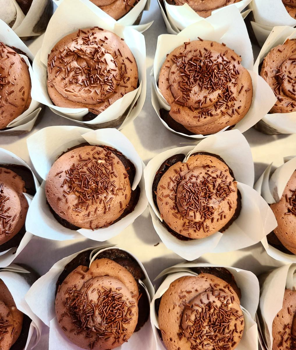 Hive Bakeshop's chocolate cupcakes with chocolate buttercream and sprinkles