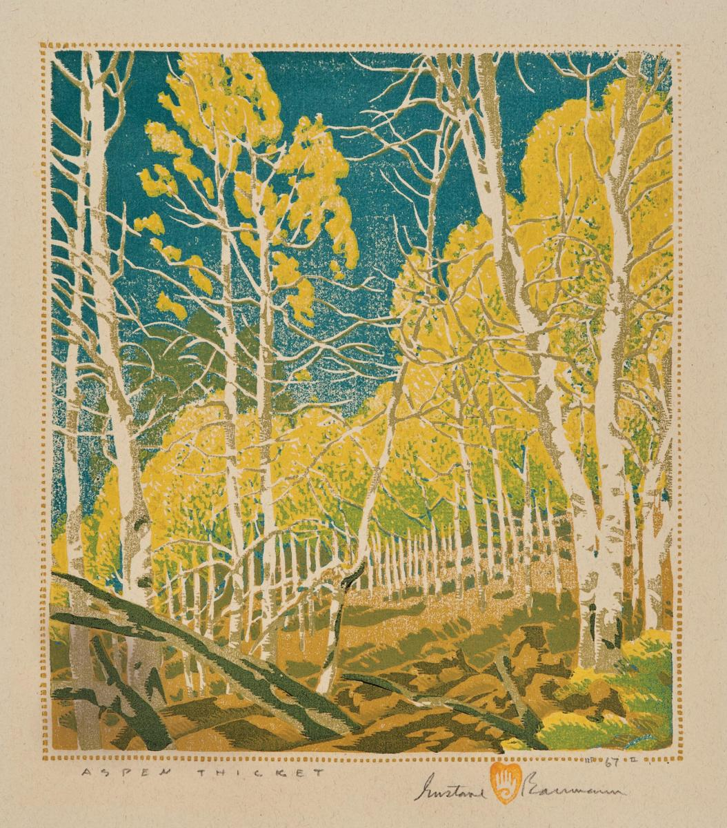 Aspen Thicket, a 1943 color woodcut by Gustave Baumann.
