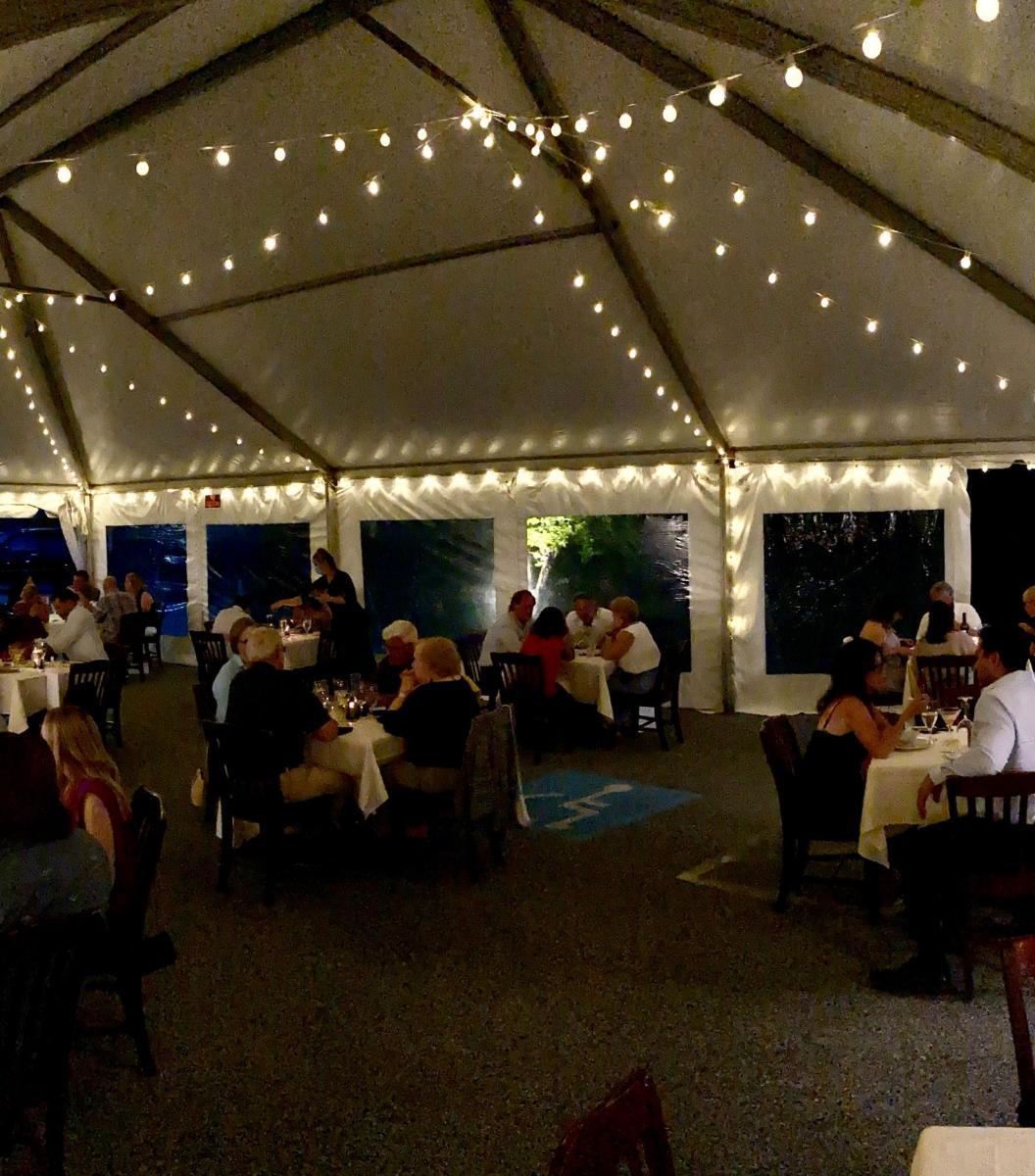 Creeds seafood & steak heated tent