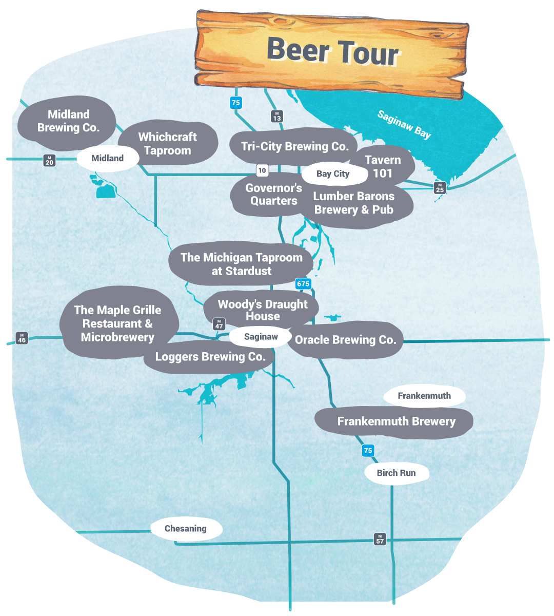 Self-Guided Tours - Beer Tour Map