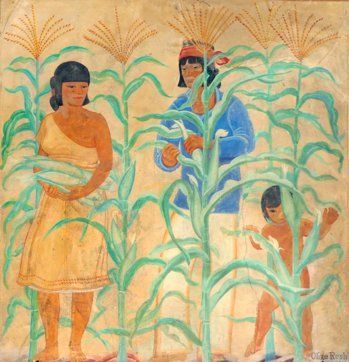 Historic Murals: Olive Rush's Pueblo Family Gathering Corn, New Mexico Magazine