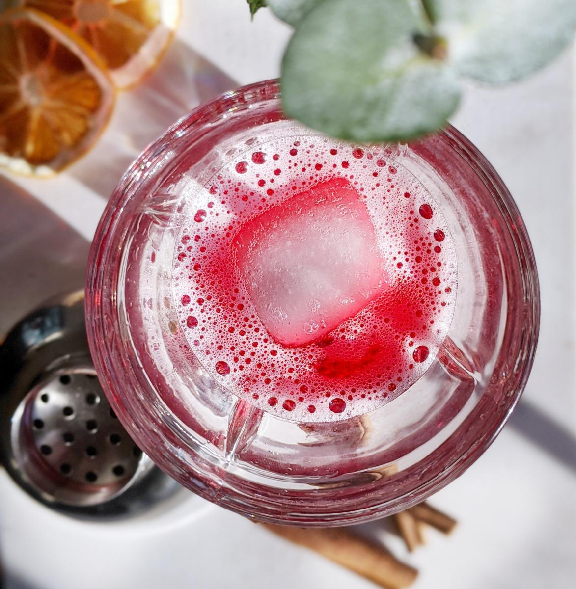 Looking for tasty mocktails? Check out this local option, featuring Hibiscus Cherry with Siren Shrub.
