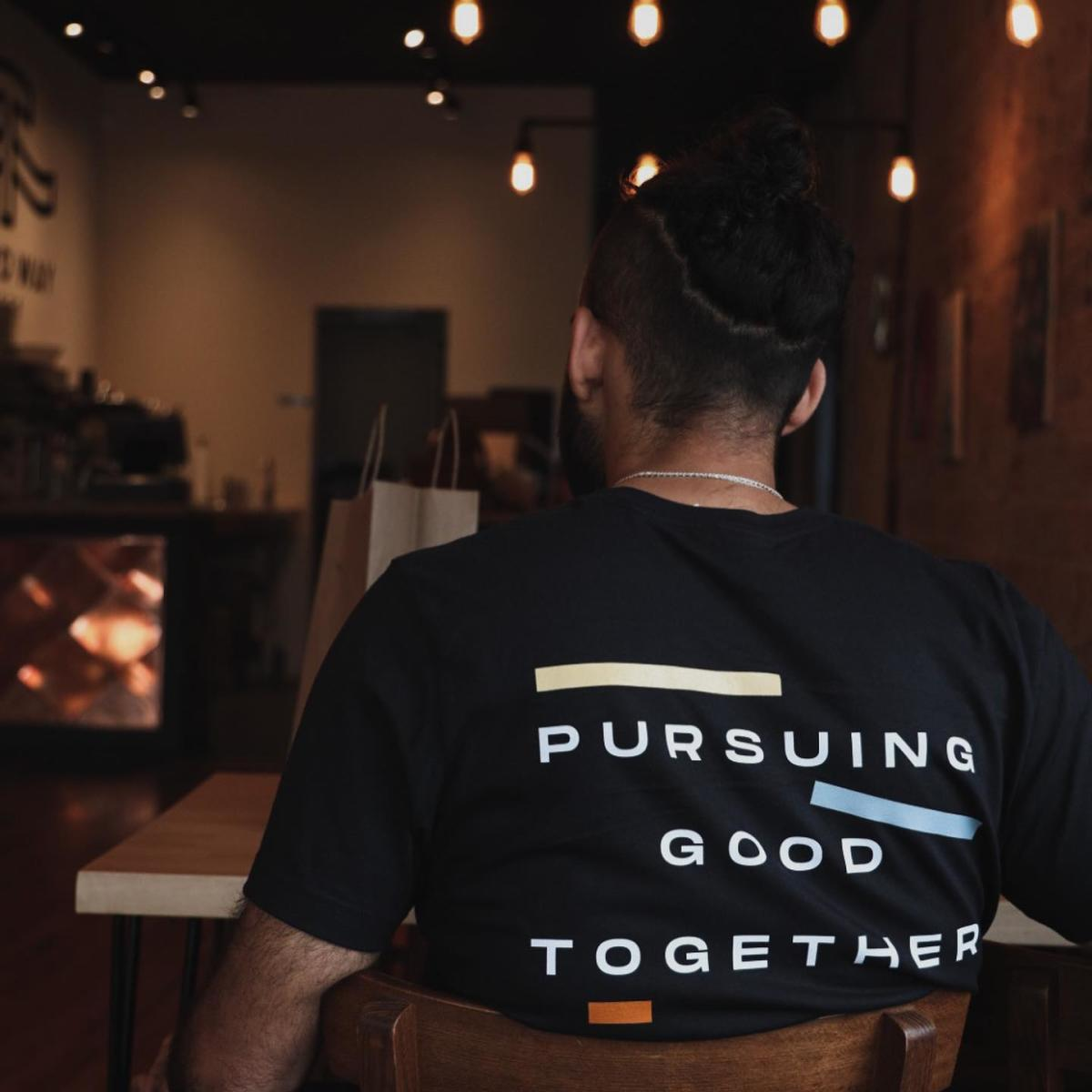 """Shirt from Third Way Cafe that says """"Pursuing Good Together"""""""