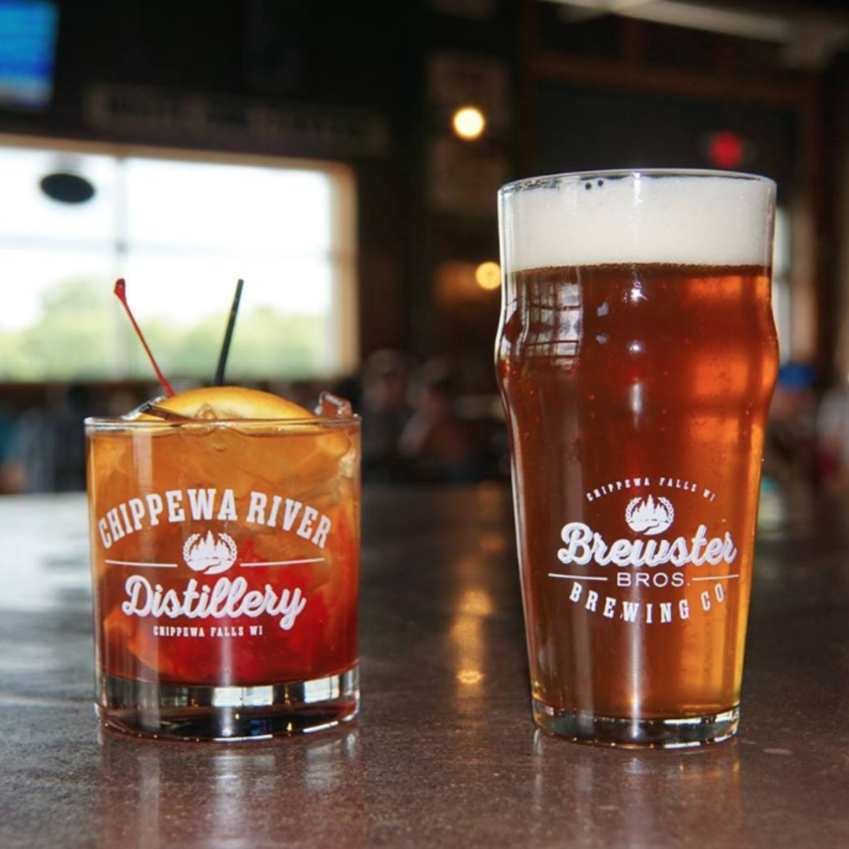 Drinks from the Chippewa River Distillery and Brewster Bros. Brewing Company