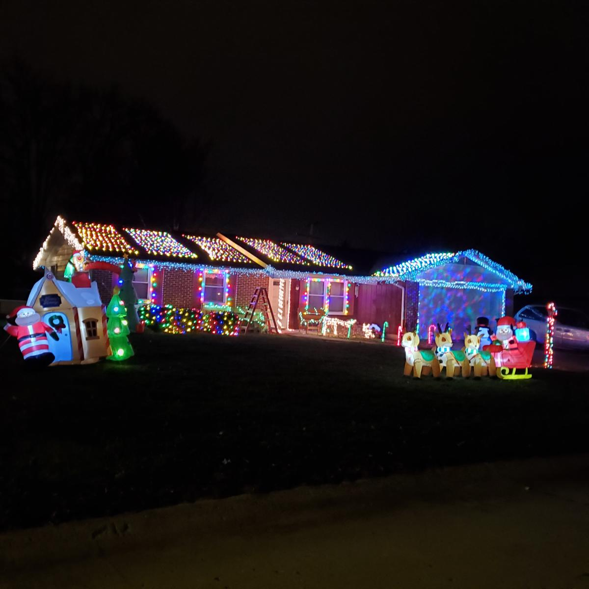 Christmas Lights Display at 7023 Elmbrook Drive in Fort Wayne, Indiana