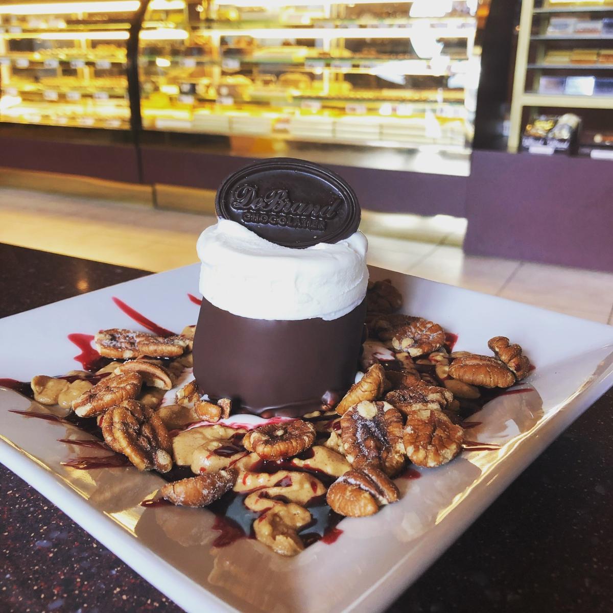Ice cream sundae at DeBrand Fine Chocolate