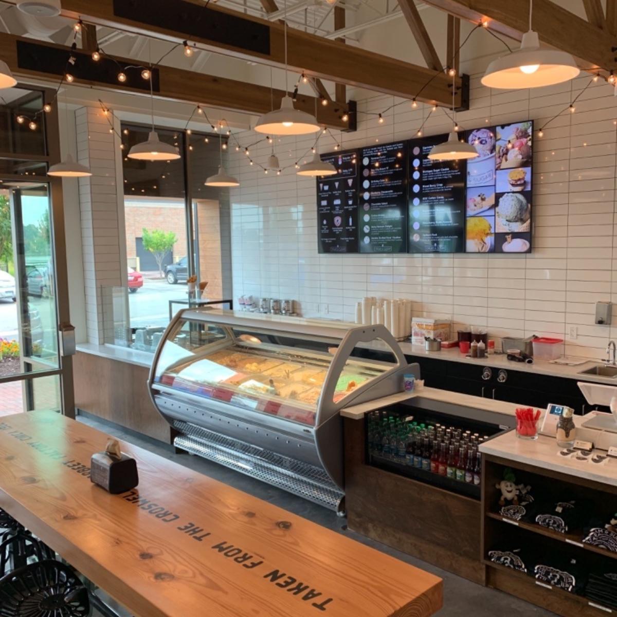 Ice cream displays at Cream & Sugar Ice Cream Company in Uptown Bay City