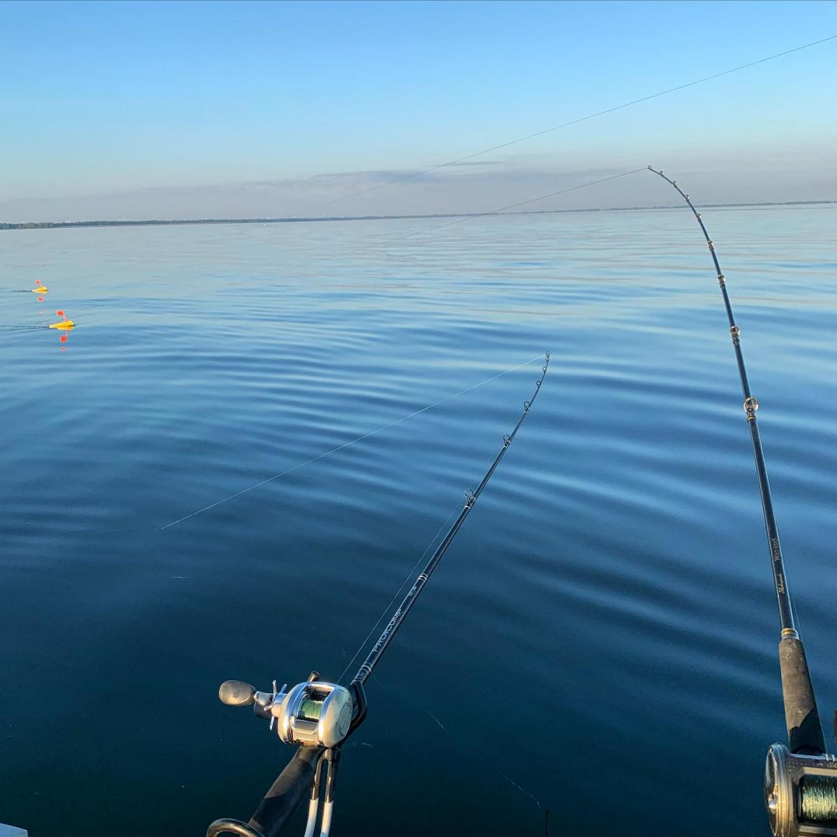 Fishing poles cast out on Lake Huron's Saginaw Bay