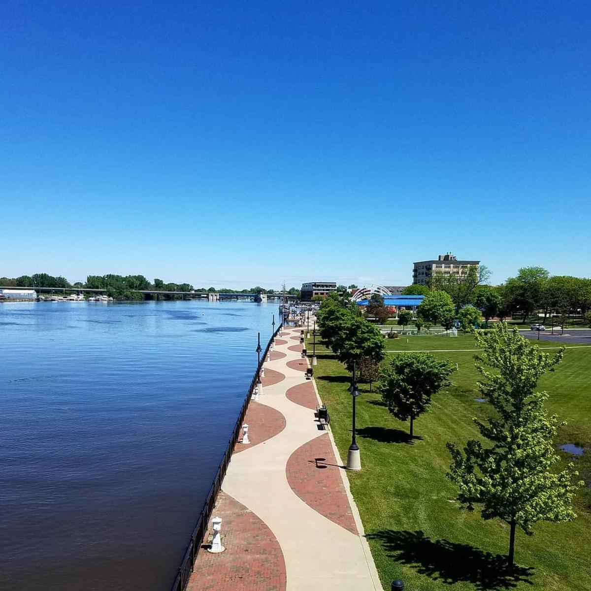 Aerial view of the Bay City Area Riverwalk/RailTrail along the waterfront in Bay City
