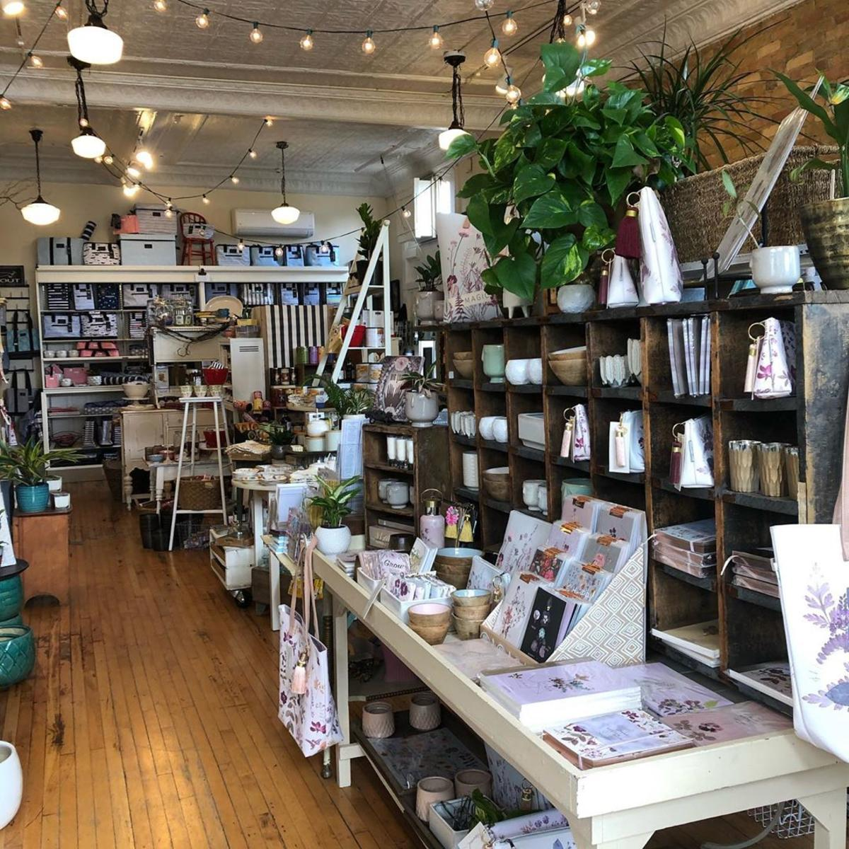 Views of product displays inside Violets Blue in Downtown Bay City