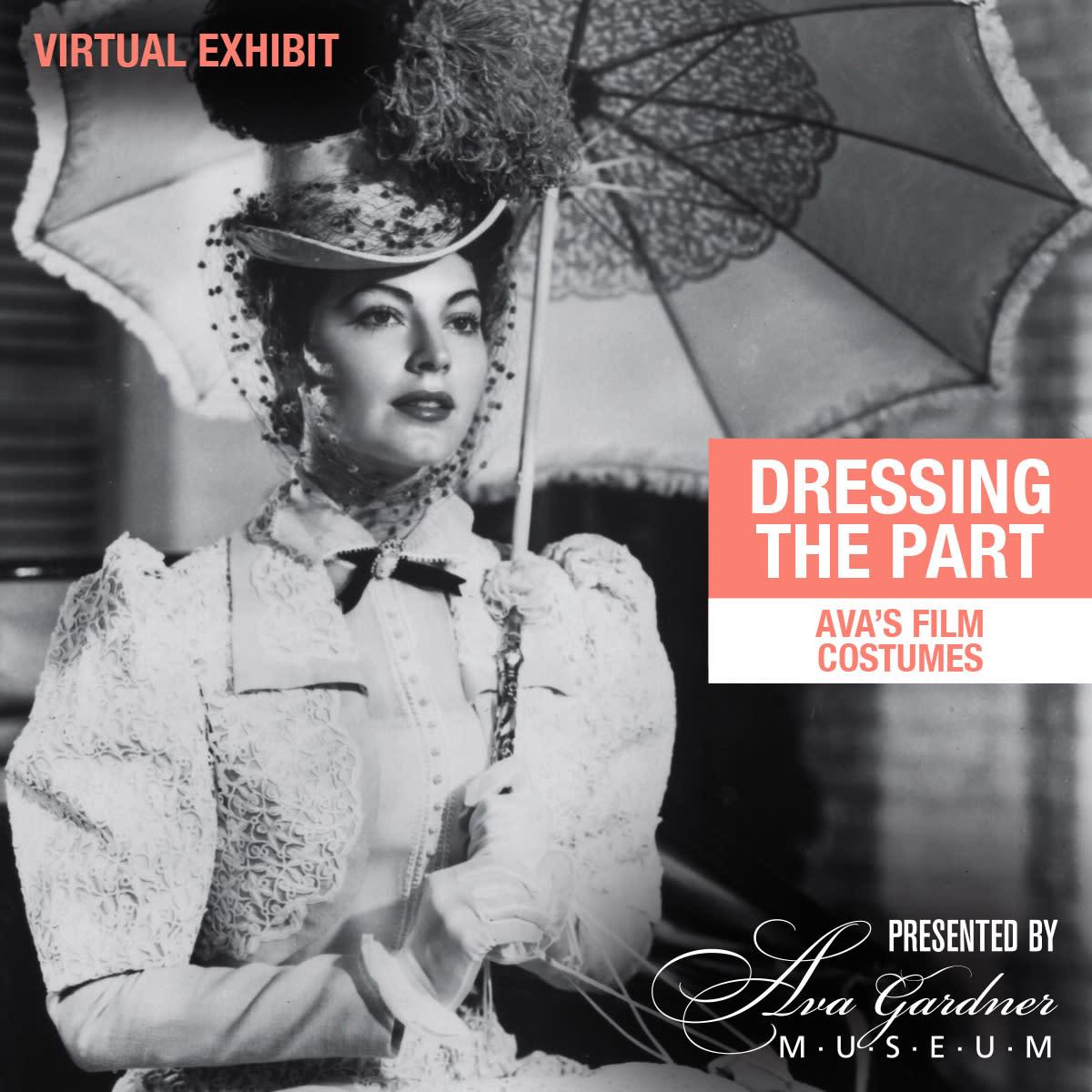 Ava Gardner in costume holding parasol. Promo graphic for Ava's Film Costumes virtual Exhibit