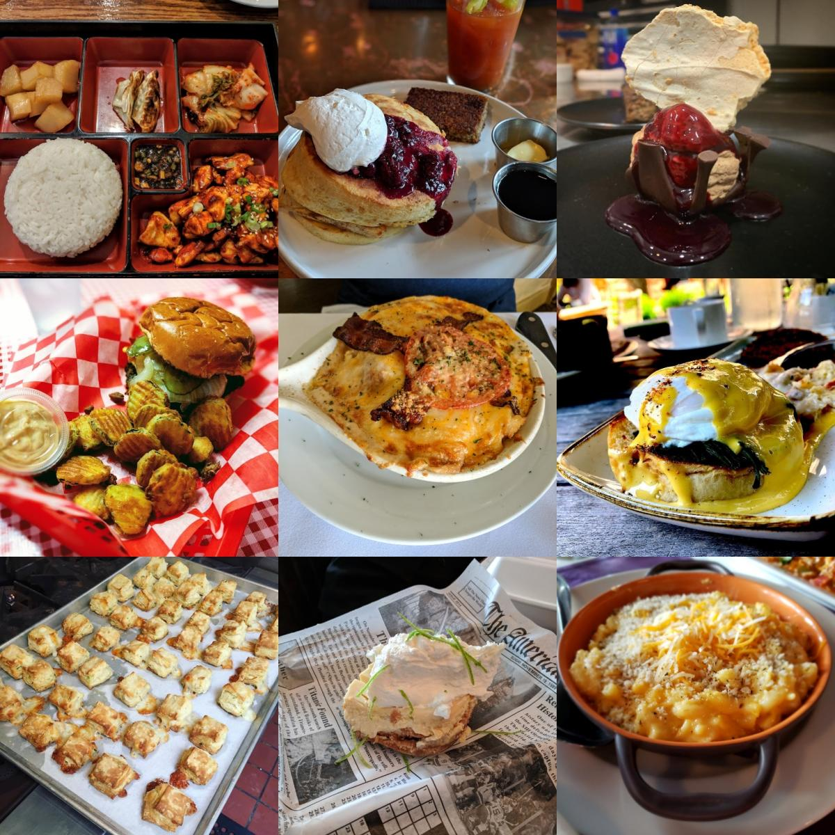 A collage of biscuits, mac and cheese, lime pie, korean food, a burger, a hot brown, eggs benedict made with goetta, and lemon blueberry pancakes from restaurants in Covington, Newport and Florence Kentucky
