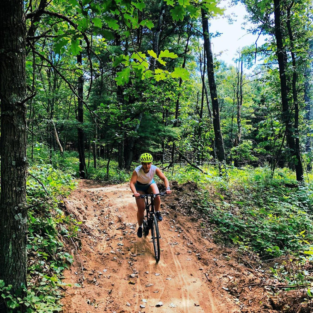 Explore the trails at Standing Rocks Park in the Stevens Point Area, one of the best spots for mountain biking in Wisconsin.