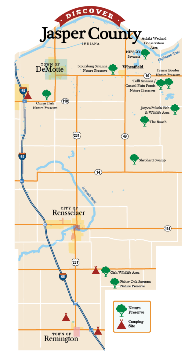 Jasper County Nature Preserves Map