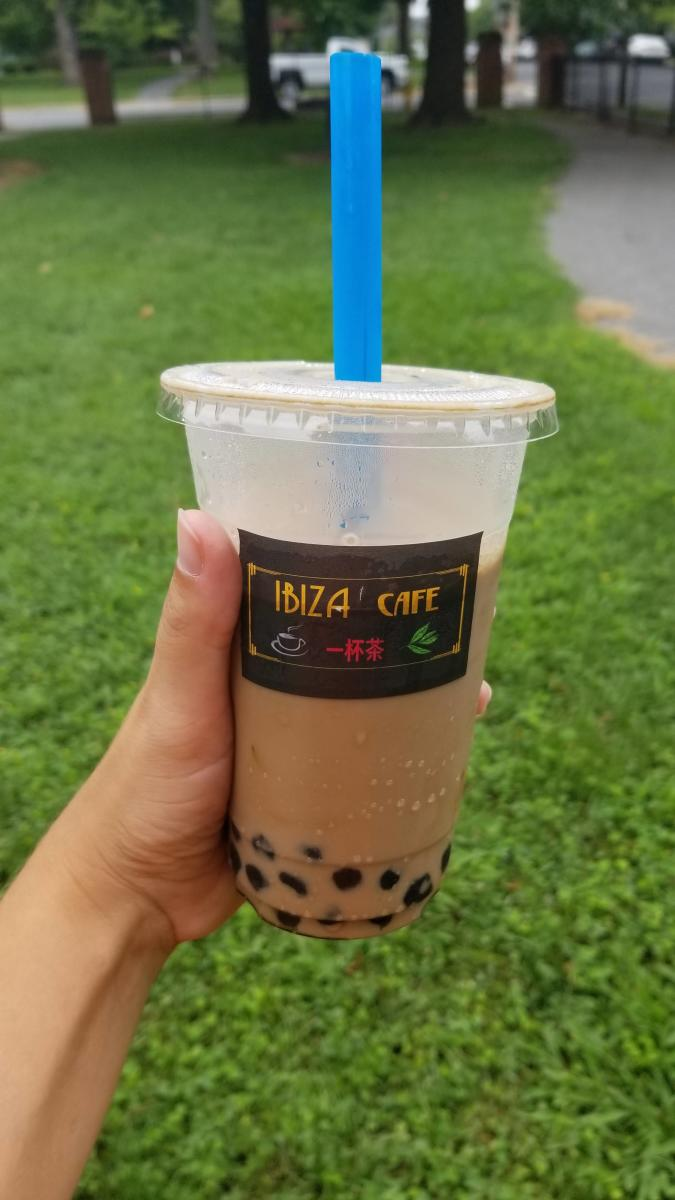 Ibiza Cafe's Ruby and Pearl Tea in a to-go cup