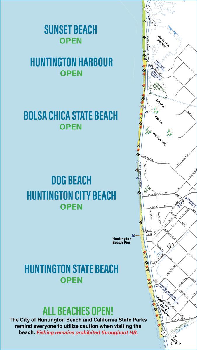 Huntington Beach Open & Closures Map