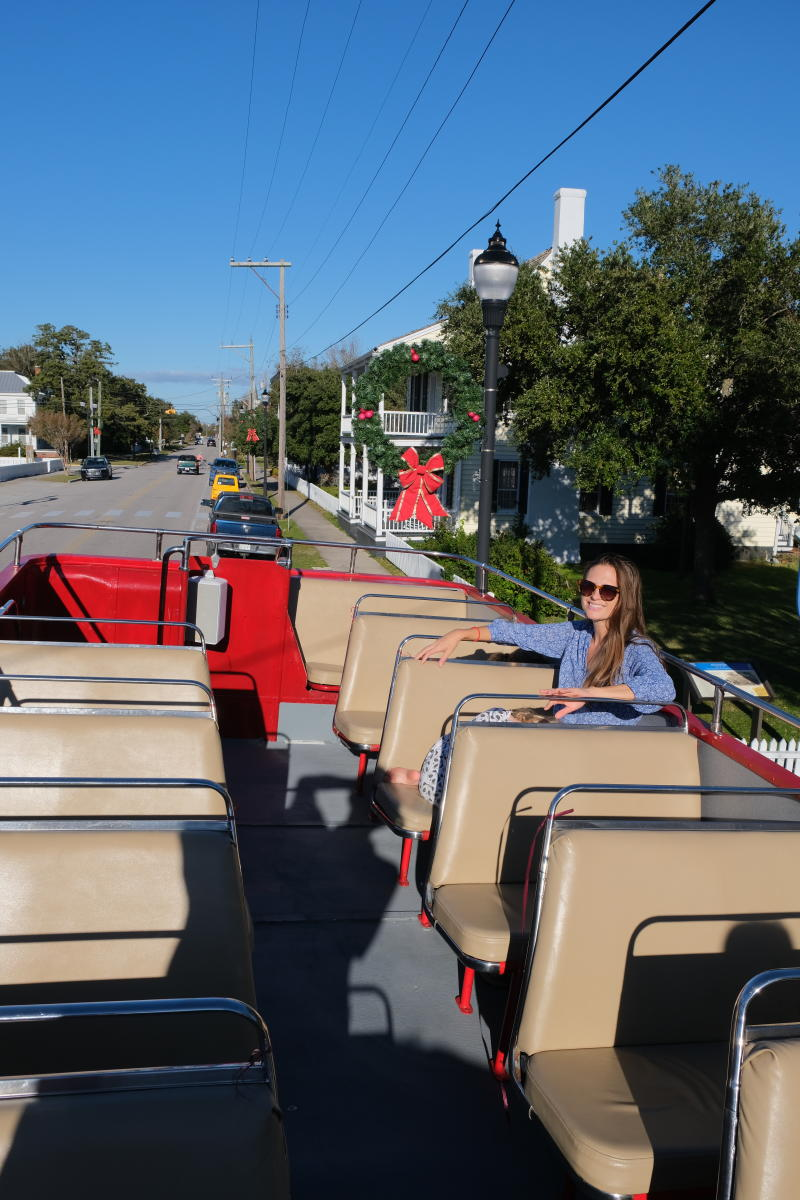 Tourists can enjoy the views from the top of a Beaufort Bus Tour's Double Decker Bus