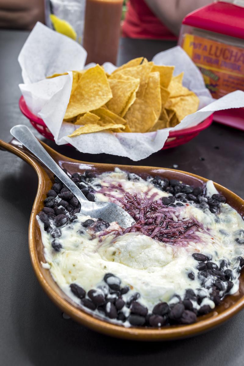 Raspberry Black Bean Dip at Taco Luch