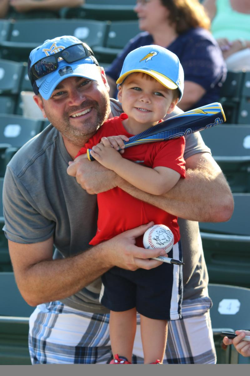 Baseball family at Pelicans game