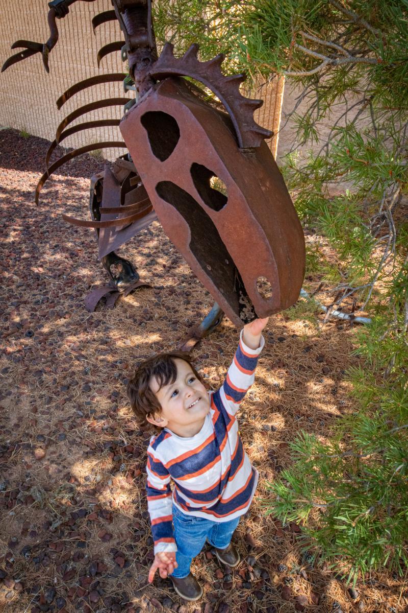 Dinosaur Sculpture and Child, Clayton NM