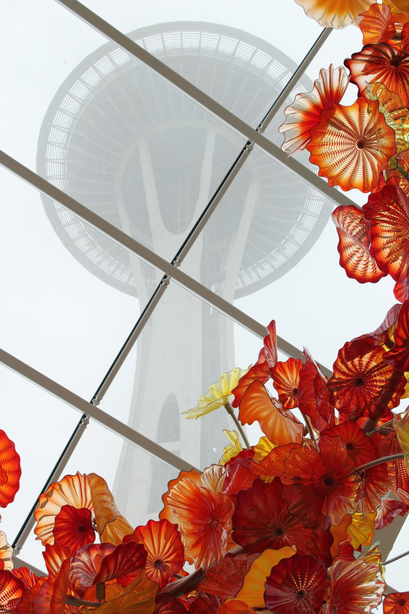 Chihuly Glass Museum view of Space Needle through glass ceiling