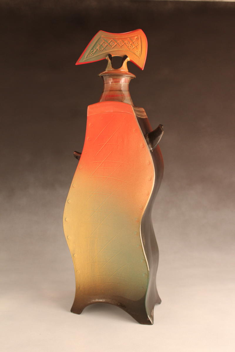 Wavy Lidded Guy by ceramic artist Paul Uhl