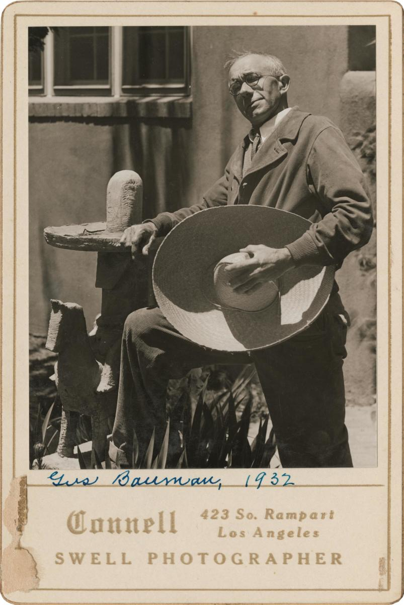 A 1932 portrait of Gustave Baumann in Santa Fe (with a jaunty sombrero).